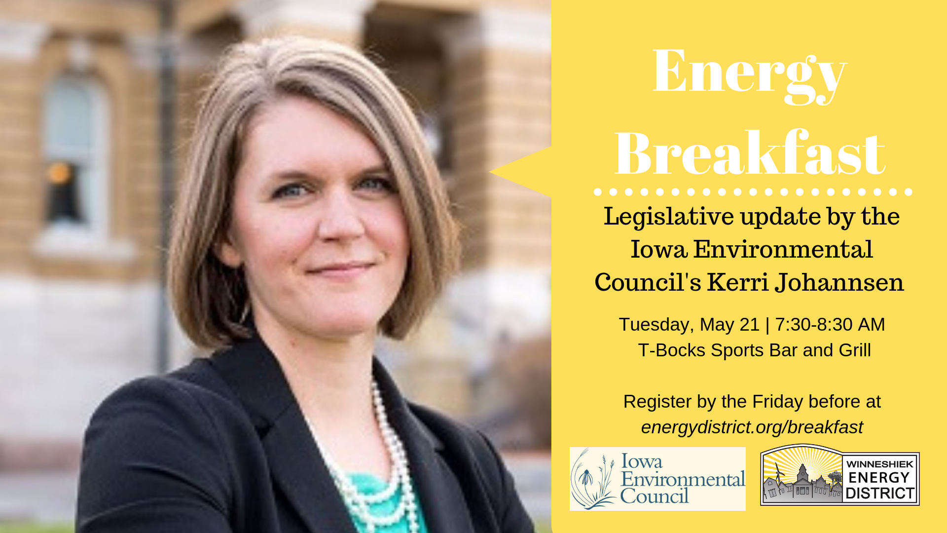 b3a35e980ff3 The Monthly Energy Breakfast series from the Winneshiek Energy District  welcomes Kerri Johannsen from the Iowa Environmental Council to Decorah on  Tuesday