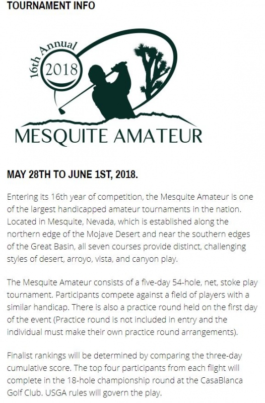 16th Annual 2018 Mesquite Amateur Tuesday, May 29, 2018 9:00am to 2:30pm