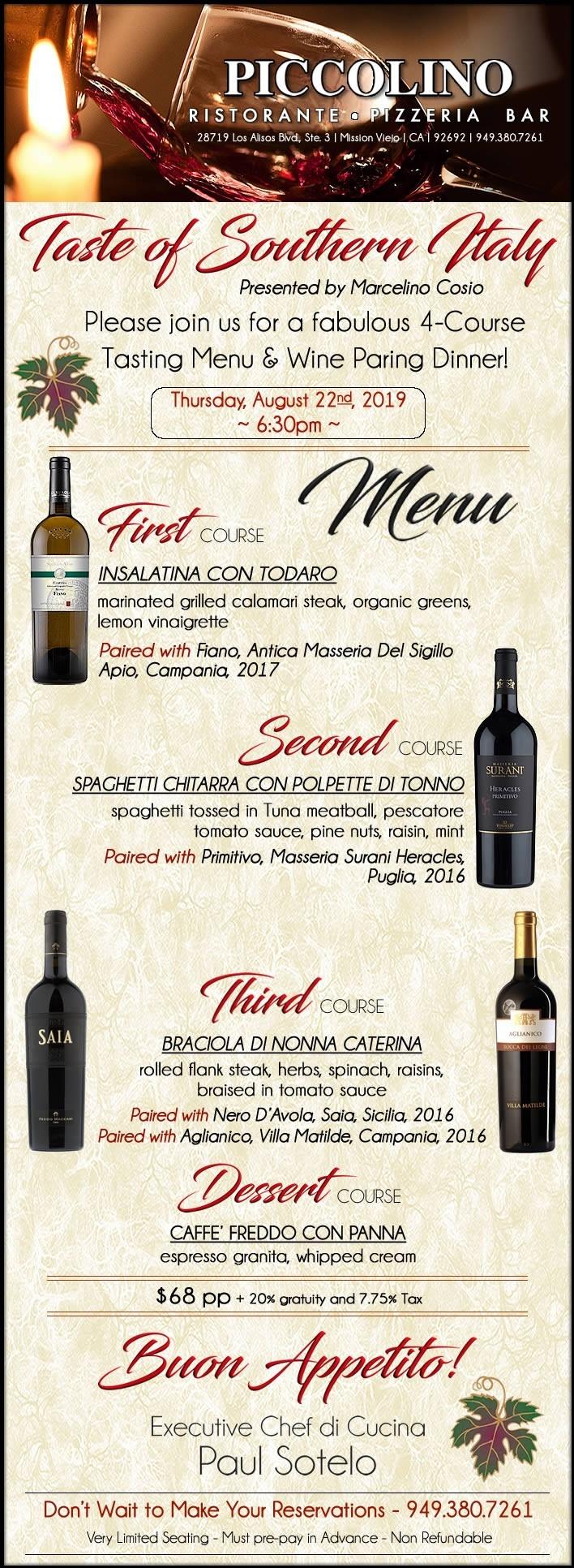 Piccolino Ristorante - Southern Italian Wine-Pairing Dinner - Thursday - Aug 22nd