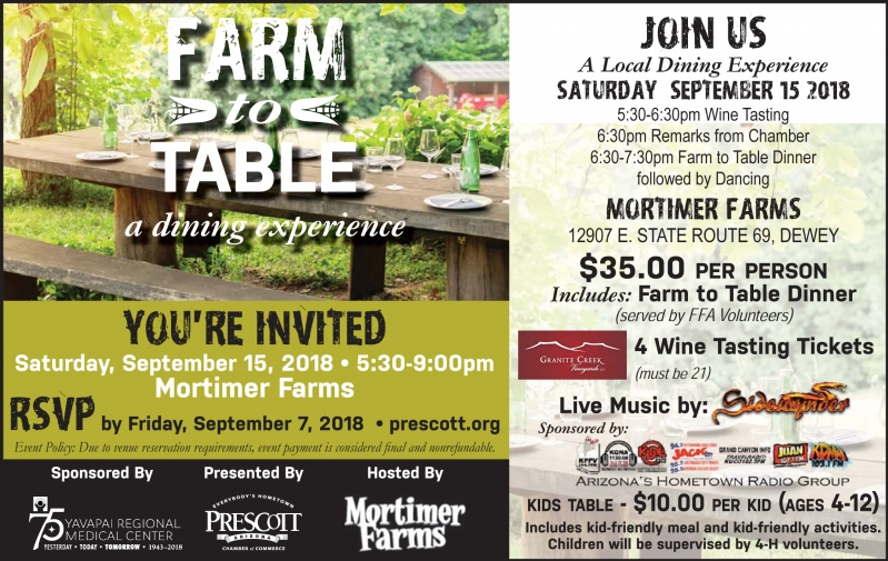 Prescott Chamber Of Commerce Event Information - Farm and table reservations