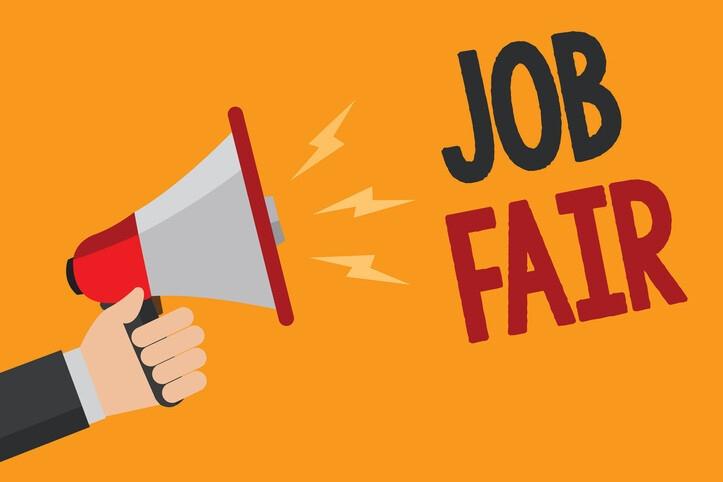 """A Hand holding a bullhorn with the words """"Job Fair"""""""